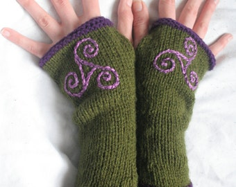 Arm warmers - Fingerless gloves - knitted Irish wool - Celtic design -green - purple - made in Ireland