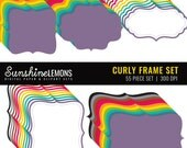 Curly Modern Digital Frames - 55 piece set - COMMERCIAL USE Read Terms Below