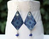 Indigo Blue Bead Earrings Mixed Media Jewelry Hippie Beaded Jewelry Geometric Diamond Long Boho Silver Earrings Drop Dangle Earrings