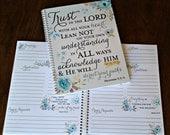 Prayer Journal, Jesus, Bible Journaling, Journal, Christian gift, Scripture Journal - Aqua Gold