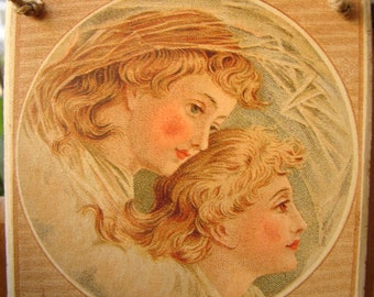 Best Wishes for a Happy New Year,beautiful angels heads image on wooden tag,ready to hang on tree.
