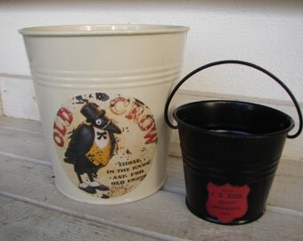 2 shabby chic tins, cream enamel & black painted tin/metal pots, buckets planters-vintage label Old Crow