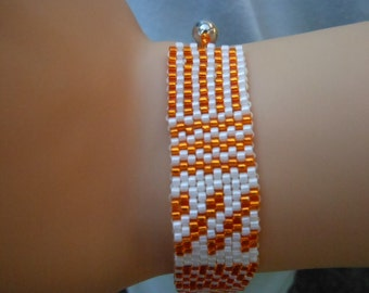 Orange and White Peyote Stitched Bracelet
