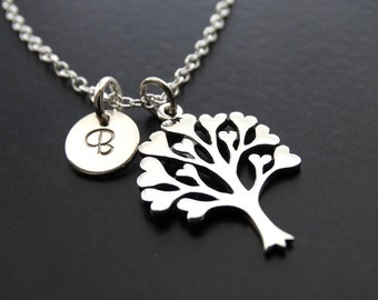 Personalized Family Tree Necklace, Tree of Life Necklace, Sterling Silver Tree of Life, Personalized birthstone necklace, Mother Necklace
