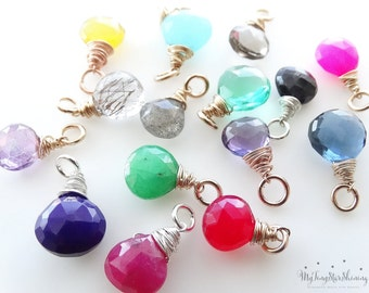 Gemstone pendant Birthstone pendant  gold and silver ADD ON charm to your necklace Semi-precious Gemstones
