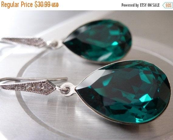 VALENTINE SALE Emerald Earrings Swarovski Crystal Green Emerald Earrings Angelina Jolie earrings Inspired Bridesmaid gift