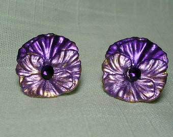 Purple and Lavender  Pansy Earrings,Sparkling Crystal Center