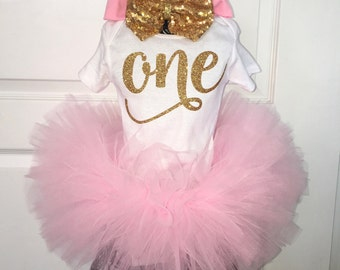Pink and Gold Birthday Tutu Set