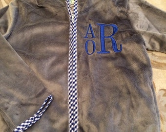 Monogrammed Gray Boy's Minky Jacket Toddler Jacket - Gray and Blue Coat - Personalized Embroidered Initials Baby Boy 12 Months-10
