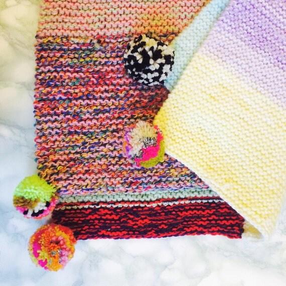 Baby Crochet Blanket Acrylic Gift Nursery Bedroom Cot Crib Decoration Pom Poms Upcycled