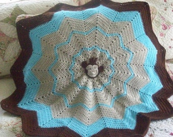Monkey,Blanket,Afghan,Crochet,Photo Prop,Babies,Turquoise,Brown,Tan,Gift,Baby,Infants,Shower,12 Point Star,Stroller,Car Seat