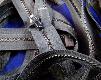"""Lot of 11 Black Zippers 25"""" NOS"""