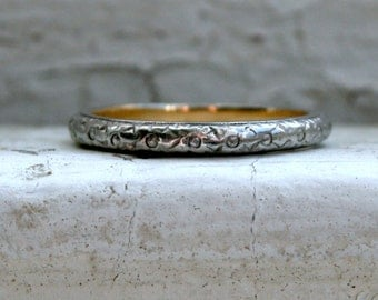 RESERVED - Fantastic Antique Floral Platinum/18K Yellow Gold Wedding Band.