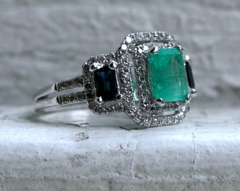 Vintage Art Deco 14K White Gold Natural Emerald and Sapphire Engagement Ring - 2.14ct.