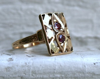 RESERVED - Vintage 14K Yellow Gold Ruby Ring - 0.30ct.