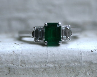 Vintage Platinum/ 18K White Gold Emerald Cut Diamond and Emerald Three Stone Engagement Ring - 1.25ct.