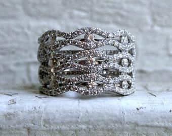 Stunning Vintage 18K White Gold Diamond Wide Wedding Band - 3.44ct.