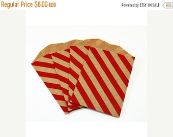 CLEARANCE SALE 25 Tiny Red Stripe Kraft Paper Bags - 2.75 x 4 inches, Utensil Bag, Favor Bag (Limited Edition)