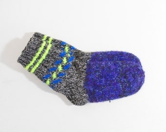 Knitted Wool Socks - Gray, Blue and Black, Size Medium
