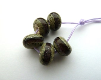 handmade purple organic lampwork glass beads UK set