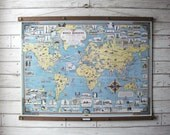 World Wonder Pictorial Map / Vintage Pull Down Reproduction /Canvas Fabric or Paper Print/Oak Wood Hanger with Brass Hardware/Organic Finish