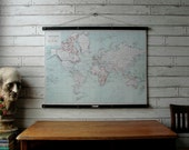 World Map 1915 /Vintage Reproduction / Canvas or Paper Print / Oak Wood Hanger and Brass Hardware / Organic Milk Paint & Wax Finish