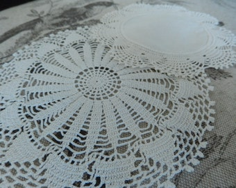 Two Small Doilies - Hand Made Doilies - Vintage Tiny Doilies - Coaster Size Doilies - Intricate Doilies - Vintage Linens
