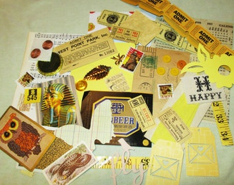 Yellow Mixed Media Altered Art Inspiration Kit - 50 pcs - Found Objects - Vintage & Vintage Inspired