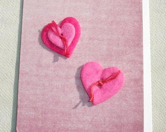 Felt Sewn Button Love Handmade Greeting Card - OOAK - Valentine's Day Gift - Blank Inside