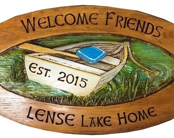 Lake Sign Personalized with Name and Phrase-Large Size