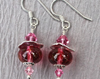 Lampwork Earrings, Lampwork Jewelry, Lampwork Bead Earrings, Pink Beads, Dangle Earrings, Sterling Silver