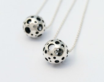 Small moon Necklace - Sterling silver sphere necklace