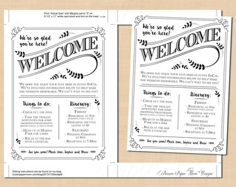 Typography Welcome Letter, Wedding Itinerary, Leaf, Industrial, Steampunk (5x7, Portrait): Text-Editable in Word, Printable Instant Download