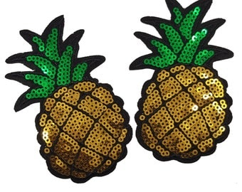 Sew On Pineapple Sequins Sequined Embroidered Patch Applique 2 pcs