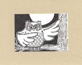 ACEO, Owl, Tree, ATC, Art Trading Card, Original Drawing, Ink, Trending, Kid Friendly