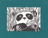 ACEO, ATC, Art Trading Card, Panda, Bamboo, Original Ink, Hand Drawn, Kid Friendly