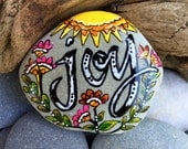 joy / painted rocks /painted stones / paperweights / rock art / words on stone / happiness / coffee table art / gifts to inspire
