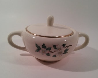 Vintage sugar bowl dogwood flower pattern