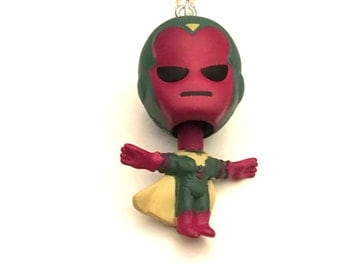 The Vision Necklace, Superhero Necklace, Action Figure Necklace, Vision Necklace, Avengers Necklace, Bobblehead