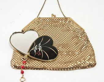 Vintage Gold Mesh Bag with Vintage Japanese Enamel Mirror Compact, Vintage Gold Mesh Evening Bag