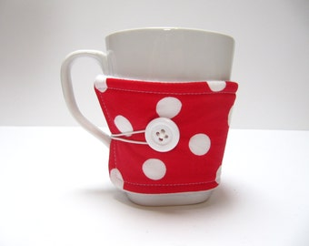 Reusable Coffee Cozy, Coffee Sleeve, Reusable Fabric Coffee Cozy, Red Polka Dot Cozy, Eco-Friendly Teacher Co-Worker Gift , Gift Under 10