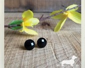 CLEARANCE! Large Black Gem. Post Earrings -- (Simple, Classic, Round, Small Black Studs, Cute, Rhinestones, Vintage-Style, Gift Under 5)