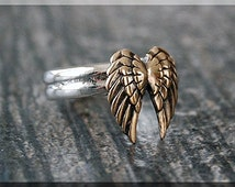 Angel Wings Ring, Sterling Silver Bronze Angel Wings Ring, Angel Jewelry, Stacking Jewelry, Stacking Ring, Faith Jewelry