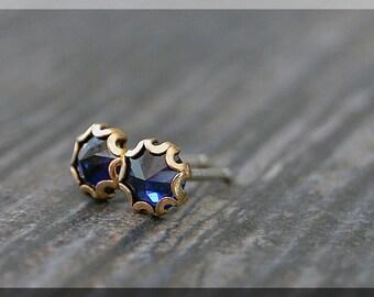 Sapphire Earrings. Gold Filled September Sapphire Post Earrings, Birthstone Earrings, Handmade earrings, Blue Sapphire Stud earrings