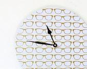 Sale, Retro Wall Clock, Home and Living, Gold Glitter Eyeglasses, Home Decor, Decor and Housewares, Wall Clocks, Unique Wall Clock