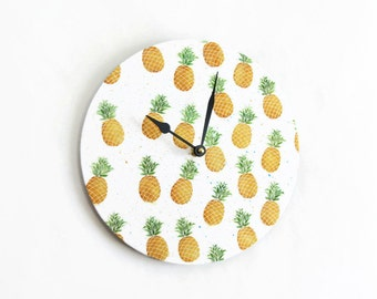Pineapple Wall Clock, Kitchen Wall Clock,  Watercolor Art, Home and Living, Home Decor, Clocks