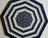 QUILTED NAVY CREAM Octagon table runner, candle mat, wall hanging