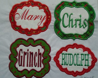 Custom  personalized frame iron on or sew on applique patch
