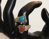 Vintage Navajo Sterling Silver Turquoise and Coral Ring