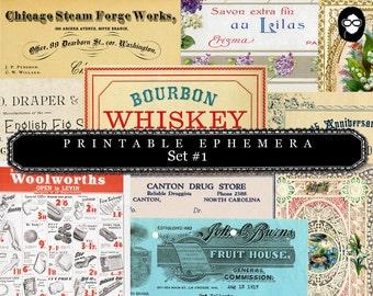 Paper Ephemera Kit - Set # 1 - 30 Page Instant Download - ephemera pack, ephemera kit, junk journal kit, journaling kit, digital collage